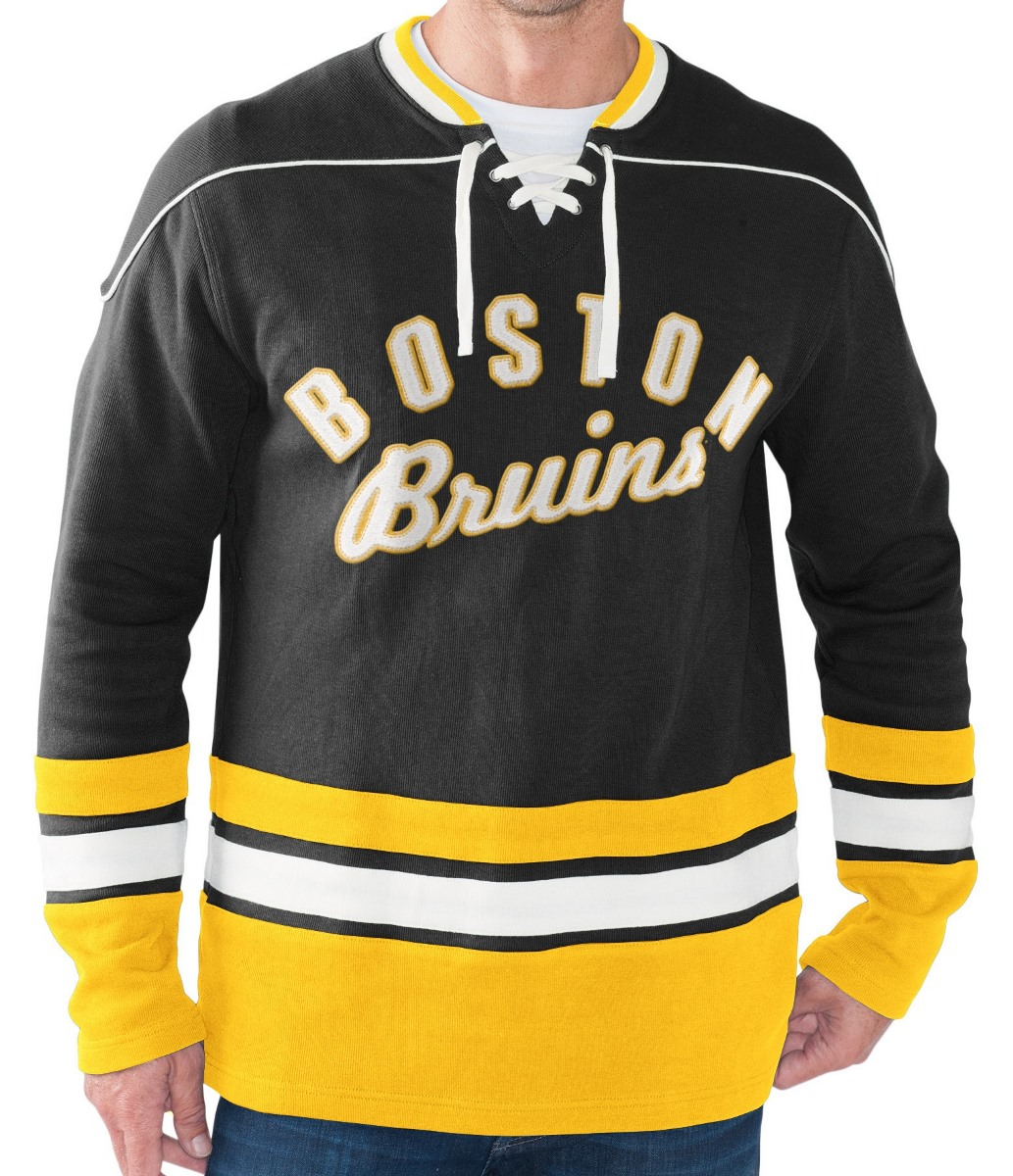 "Boston Bruins NHL Men's G-III ""Defenseman"" Knit Rib Crew Skate Lace Shirt by G-III Sports"