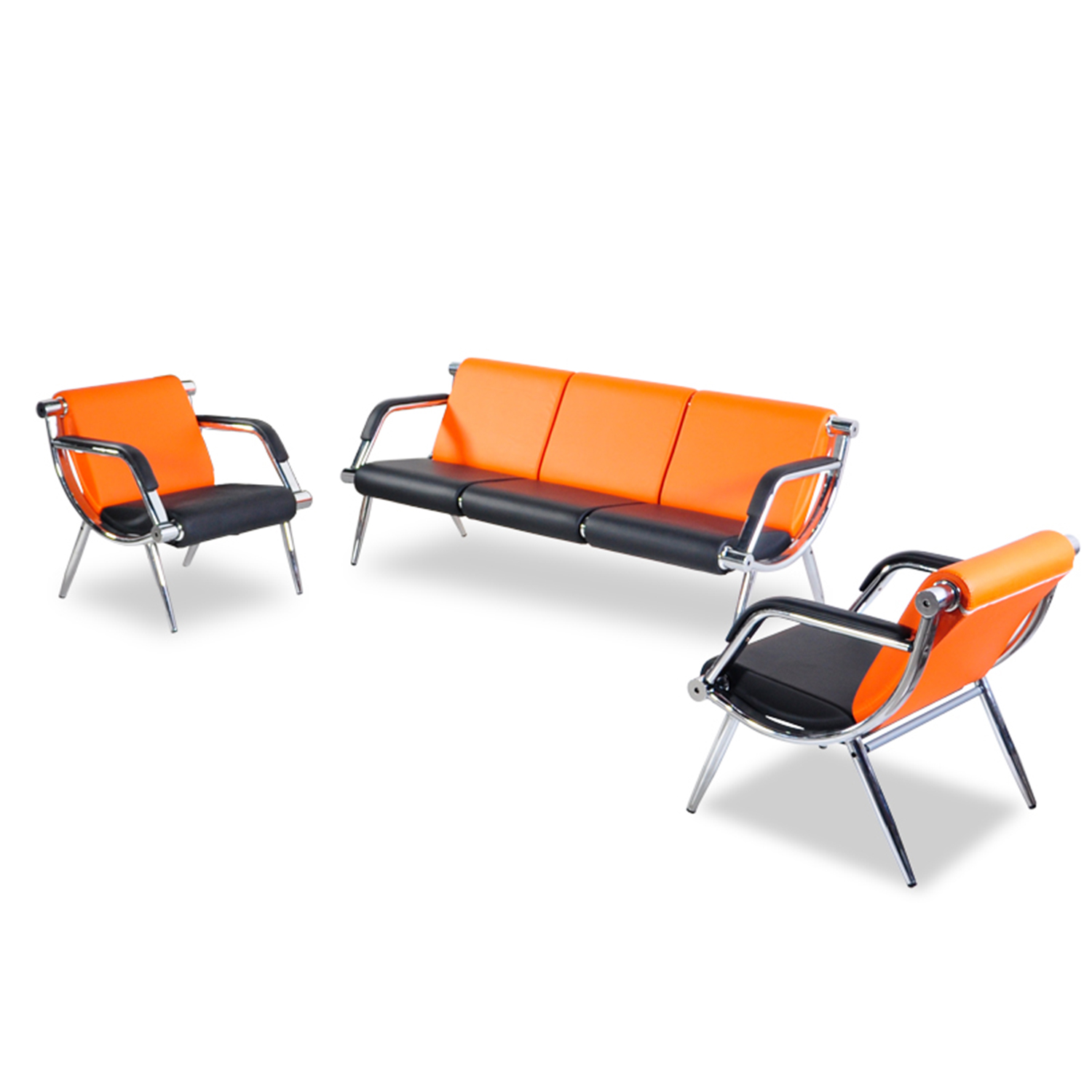 Office PU Leather Reception Chair Waiting Room Visitor Guest Sofa Set