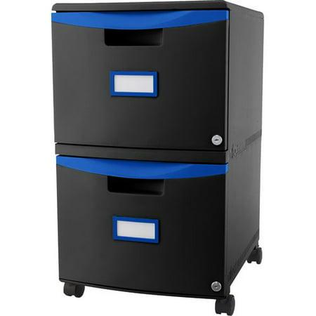 Storex 2-Drawer File Cabinet with Wheels Letter/Legal - Black/Blue