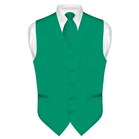 Men's Dress Vest & NeckTie Solid EMERALD GREEN Color Neck Tie Set for Suit Tux
