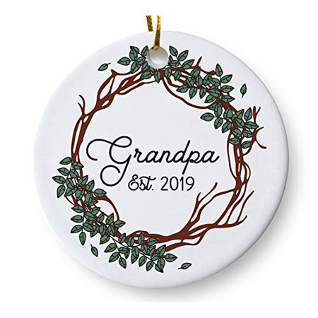 Wendana Grandpa Est. 2019 Christmas Tree Ornament,Baby Reveal Pregnancy Announcement Keepsake, Gift for Dad Father Grandpa To Be, 3 Inch Flat Ceramic Ornament with Gift Box ()