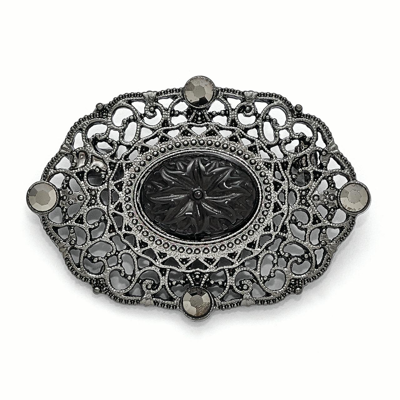 Downton Abbey Black-plated Downton Abbey Black Glass & Black Epoxy Oval Pin by
