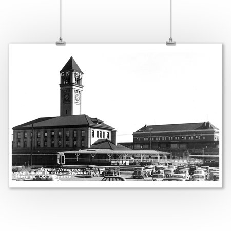 Great Northern Depot - Spokane, Washington - Exterior View of Great Northern and Union Depots (9x12 Art Print, Wall Decor Travel Poster)