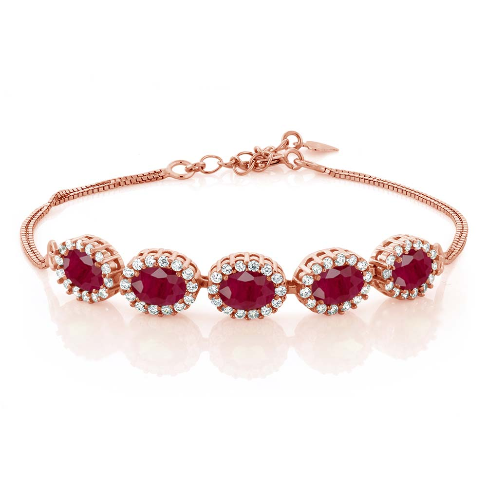 6.14 Ct Oval Red Ruby 18K Rose Gold Plated Silver Bracelet by