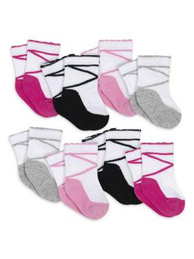 Gerber Baby Girls & Toddler Girls Maryjane Jersey Wiggle-Proof Crew Socks, 8-Pack (NB-5T)