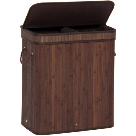 Best Choice Products Foldable Double Section Bamboo Hamper Laundry Basket w/ Removable Liner Bag - Dark