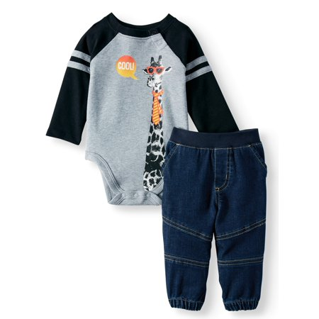 Garanimals Baby Boy Long Sleeve Graphic Bodysuit & Woven Joggers, 2pc Outfit (Cute Outfits With Black Leggings And Brown Boots)
