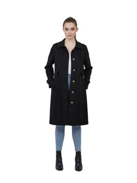 Love Token Ulysses Suede Long Trench Coat | Extra Small - Black | LT100-11-XS-BLK