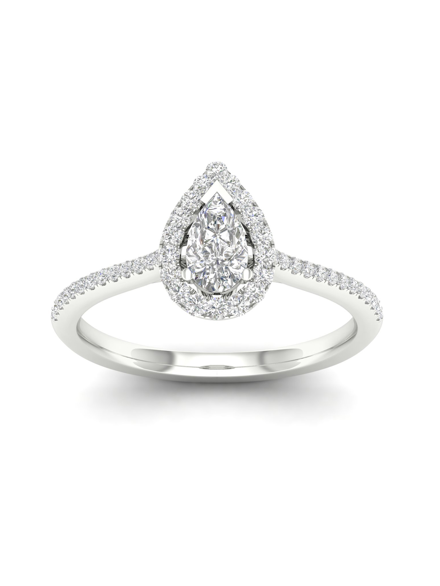 Imperial 1 3Ct TDW Pear Diamond 10k White Gold Halo Ring (I-J, I2) by Imperial Jewels