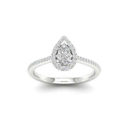 Tdw Diamond Floral Ring (1/3Ct TDW Pear Diamond 10k White Gold Halo Ring (I-J, I2))
