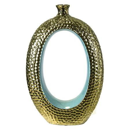 Sagebrook Home 15 in. Ceramic Decorative Table Vase - Turquoise / Gold ()