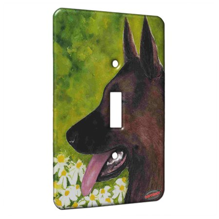 Shepherd Dog Plate - KuzmarK™ Single Gang Toggle Switch Wall Plate - German Shepherd with Daisies Dog Art by Denise Every