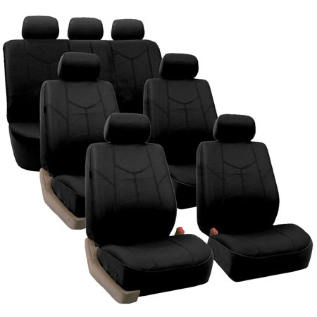 FH Group Black Rome Faux Leather Airbag Compatible and Split Bench 7 Seaters Car Van Seat Covers, Full Set