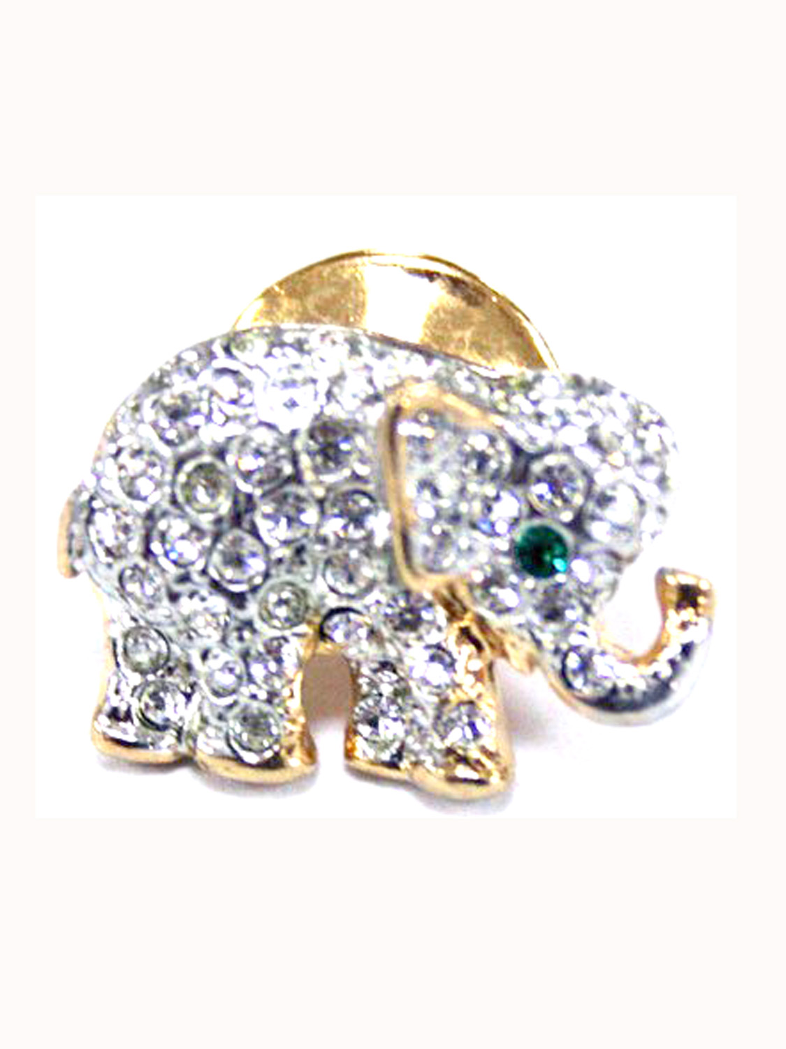 Elephant Brooch Pin with Green Stone Eyes by