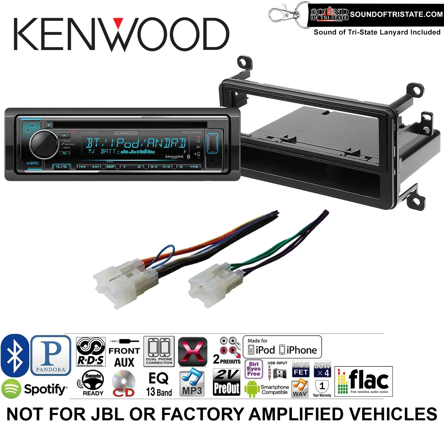 Kenwood KDCX302 Double Din Radio Install Kit with Bluetooth, CD Player, USB/AUX Fits 2001-2005 Toyota RAV4 and a SOTS lanyard included