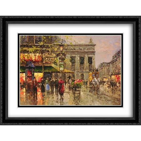 Vintage Parisian Street Scene 2x Matted 40x28 Large Black Ornate Framed Art Print by Richard Peter Richards