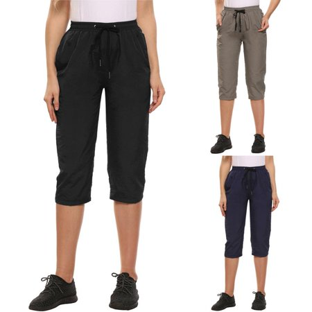 Women Fashion Slim Mid-waisted Solid Elastic Casual Mountaineering Outdoor Sports Pants