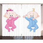 Gender Reveal Decorations Curtains 2 Panels Set, Babies Lie and Keep the Pacifiers Lovely Toddler Playroom, Window Drapes for Living Room Bedroom, 108W X 84L Inches, Pink Blue Peach, by Ambesonne