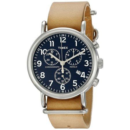 Unisex TW2P62300 Weekender Chrono Tan Leather Slip-Thru Strap Watch Chrono Leather Unisex Watch