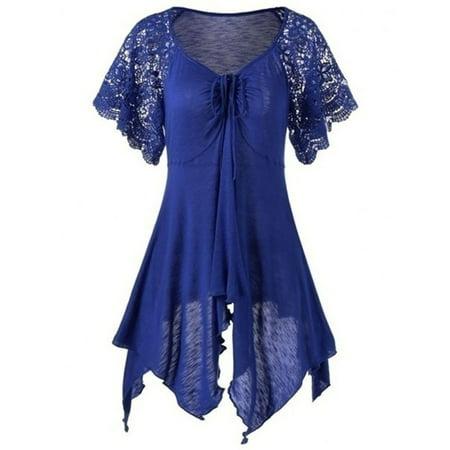 Autumn and Winter Plus Size Lace Sleeve Self Tie Handkerchief Top Irregular Blouse