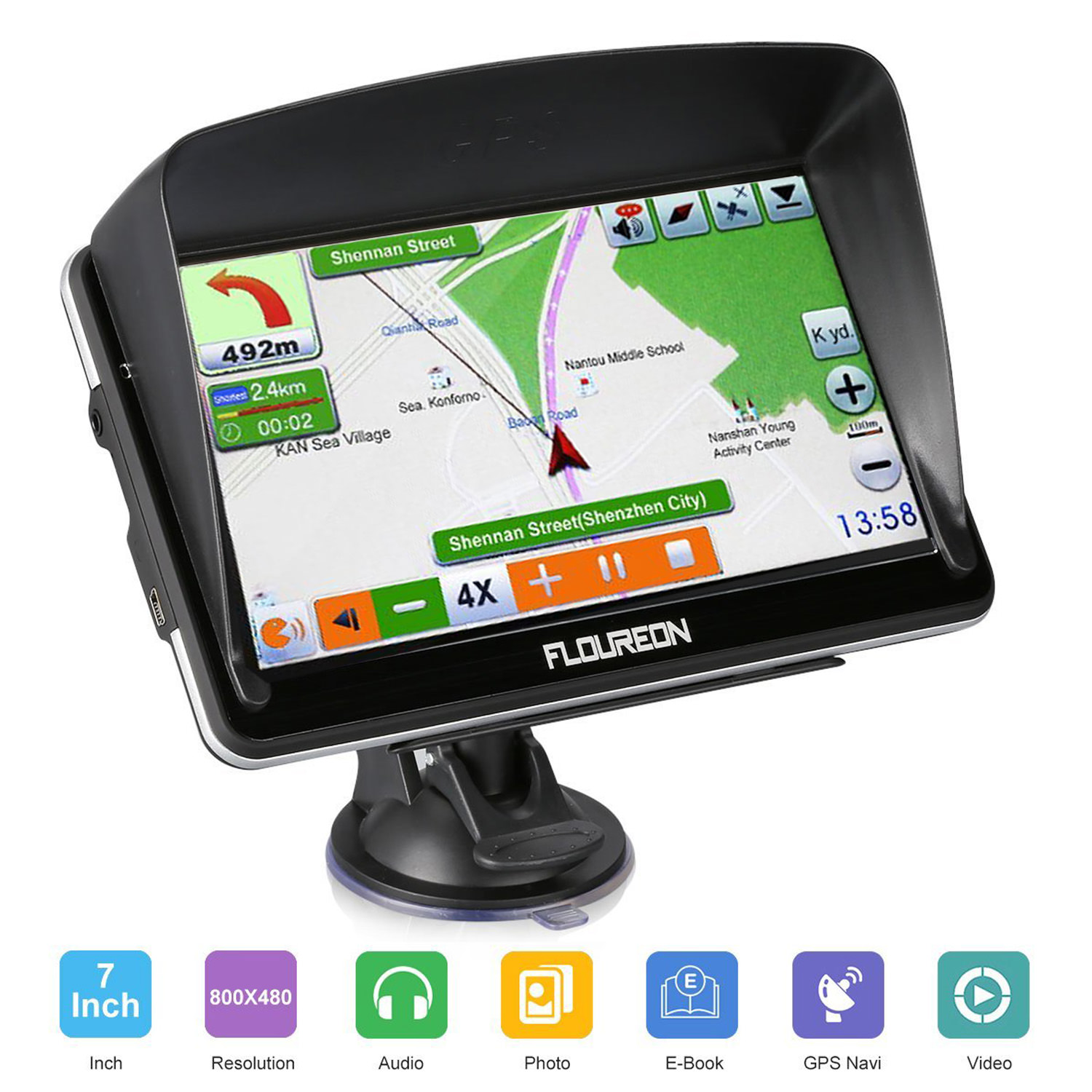 Floureon Portable GPS Navigator Handheld GPS Units Sets 8GB US Map w/ Large 7inch Touchscreen