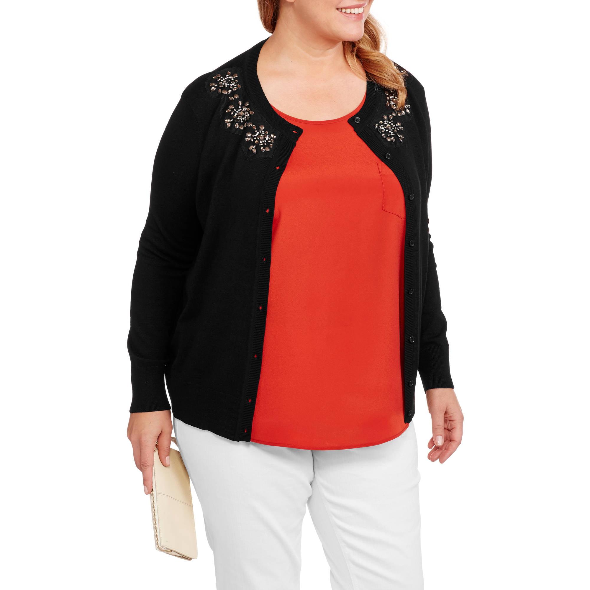 Heart and Crush Women's Plus Jewel Collar Cardigan Sweater