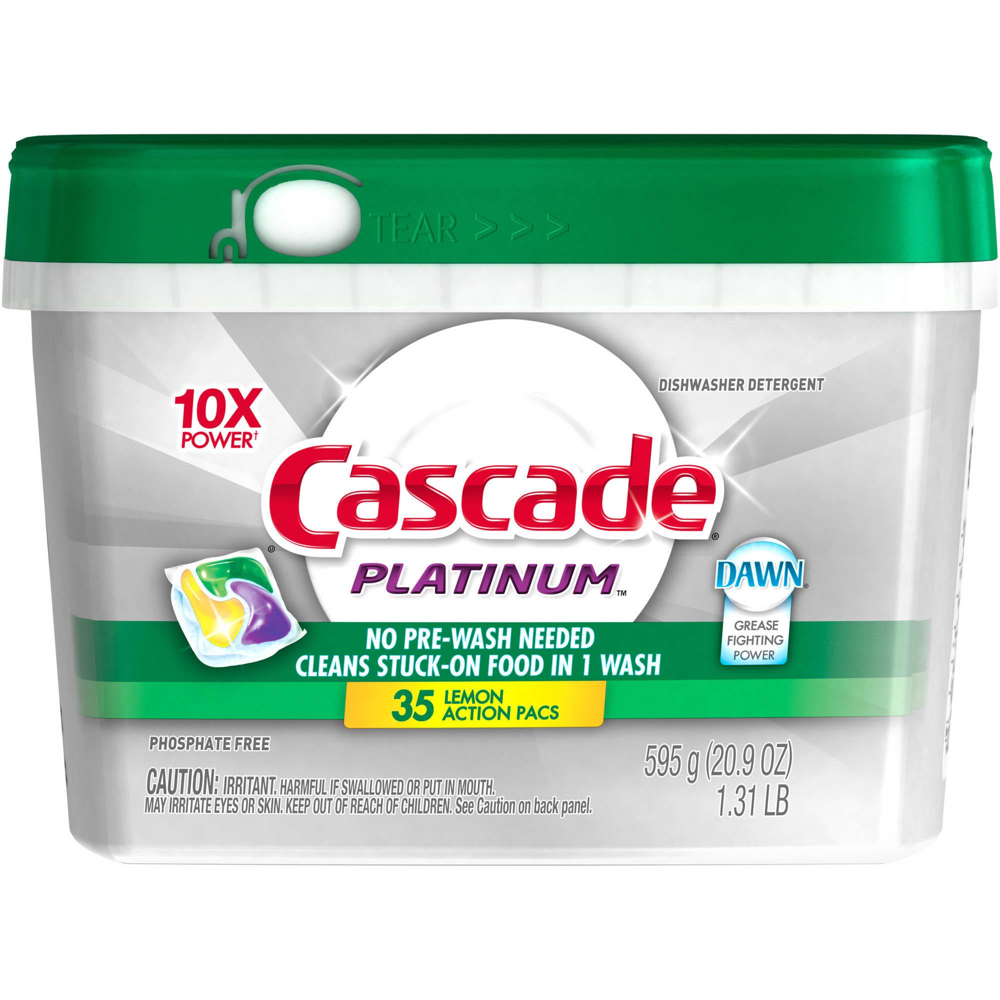 Cascade Platinum ActionPacs Dishwasher Detergent Lemon Burst (choose your size)