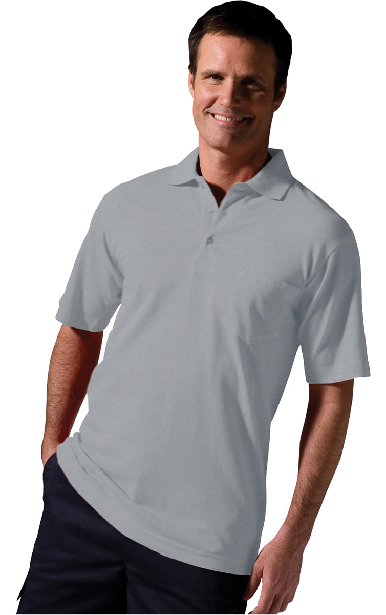 Edwards Garment Big And Tall Soft Touch Pocket Pique Polo Shirt/_HEATHER GREY/_M