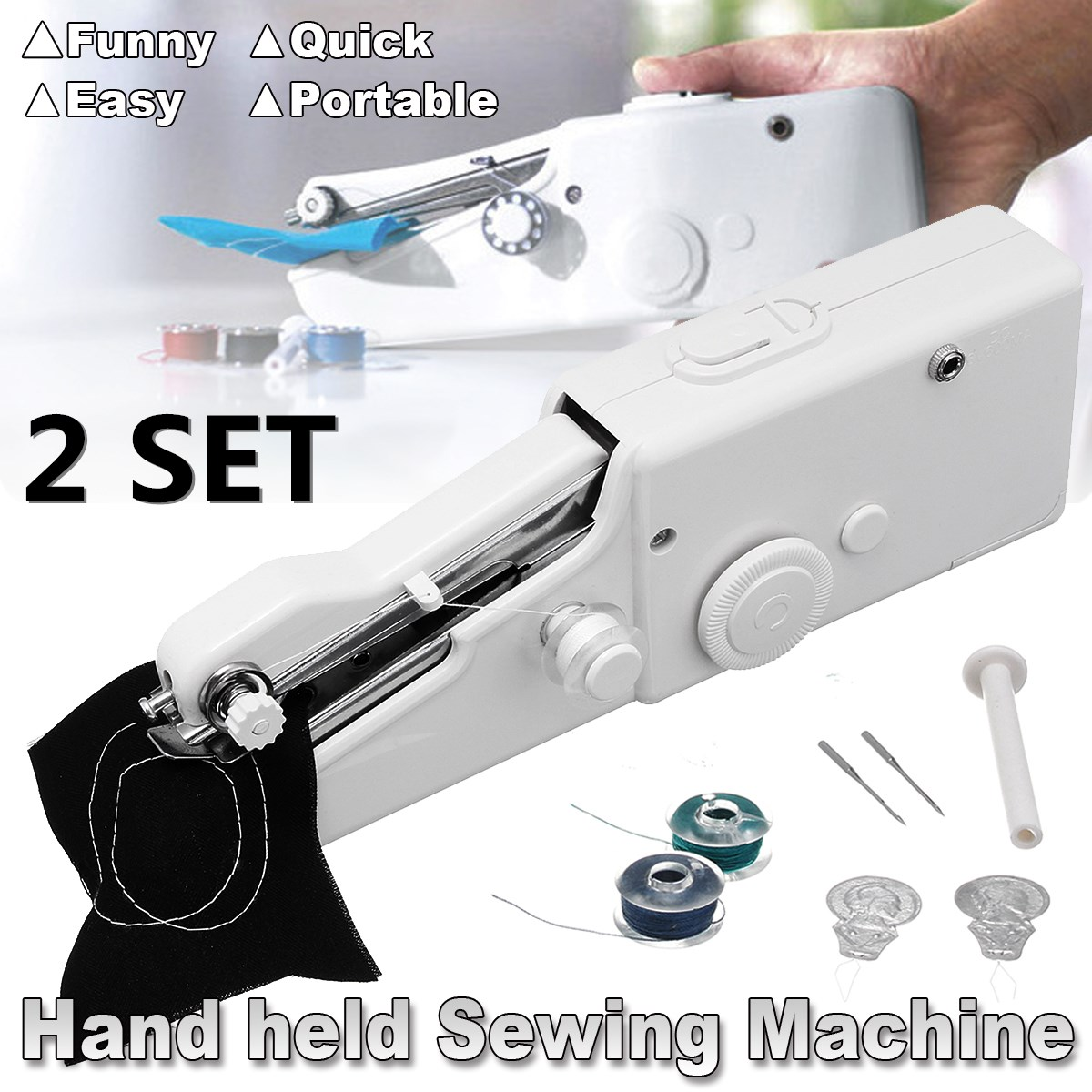 2 SET Handheld Portable Stitch Sew Cordless Handy Sewing Machine Quick Repair Tool Universal for DIY Clothing Denim Apparel Sewing Fabric Zippers Crafts Supplies (NO batteries)