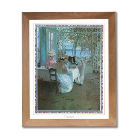 French Cafe Terrace Ocean Lake Landscape Wall Picture Honey Framed Art Print