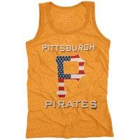 Majestic Threads Pittsburgh Pirates Stars & Stripes Tri-Blend Tank Top - Gold
