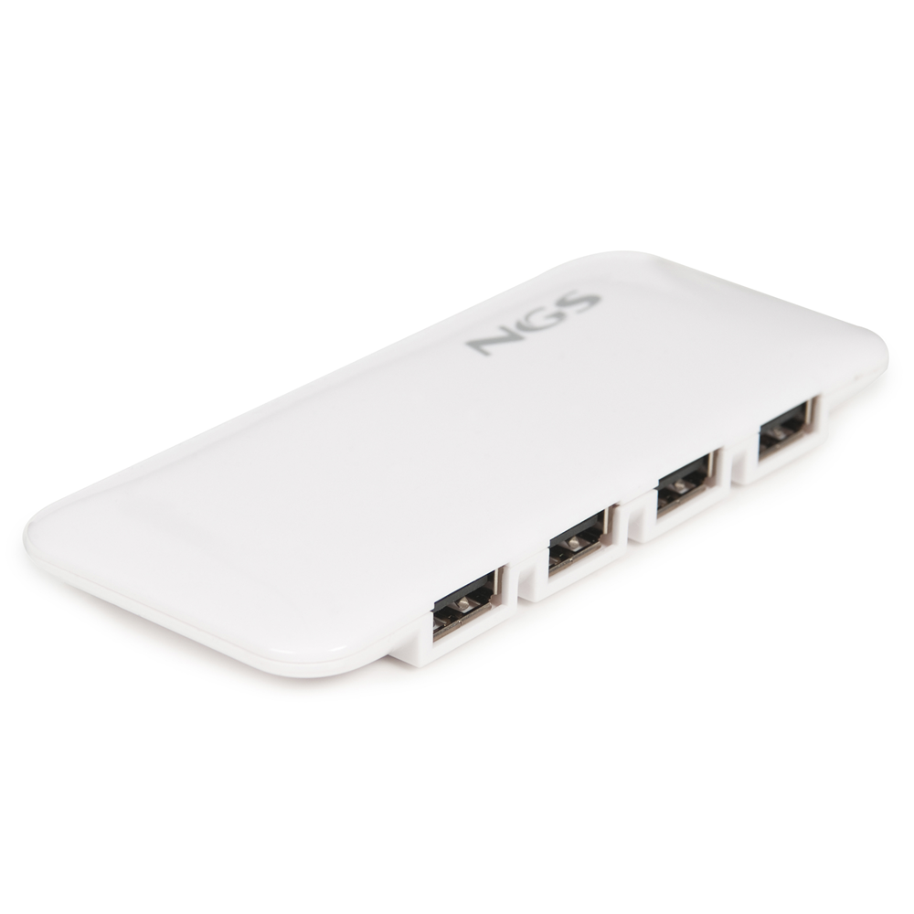 NGS 7-Port USB Hub - USB 2.0 with Power Adapter (White)
