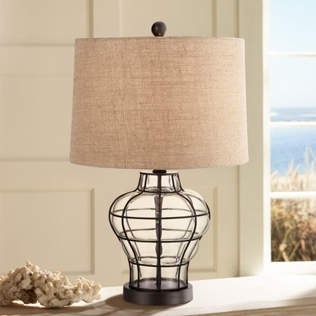 360 Lighting Nautical Accent Table Lamp Clear Blown Glass Metal Cage Burlap Drum Shade for Living Room Family Bedroom Bedside (Burlap Lamps For Living Room)
