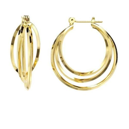 Isla Simone - Gold Plated Polished Three Interlaced Hoop Earring 40MM