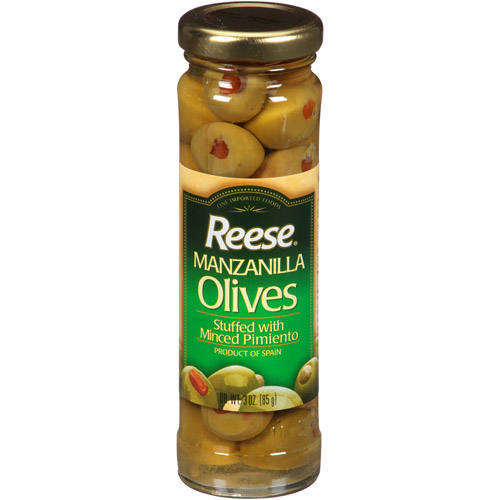 Reese Manzanilla Olives Stuffed with Minced Pimiento, 3 oz, (Pack of 12)