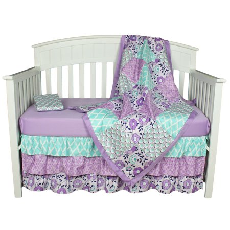 The Peanut Shell Baby Girl Crib Bedding Set - Purple Floral Design - Zoe 4 Piece Set Includes Coverlet, Dust Ruffle, and Two Fitted Sheets