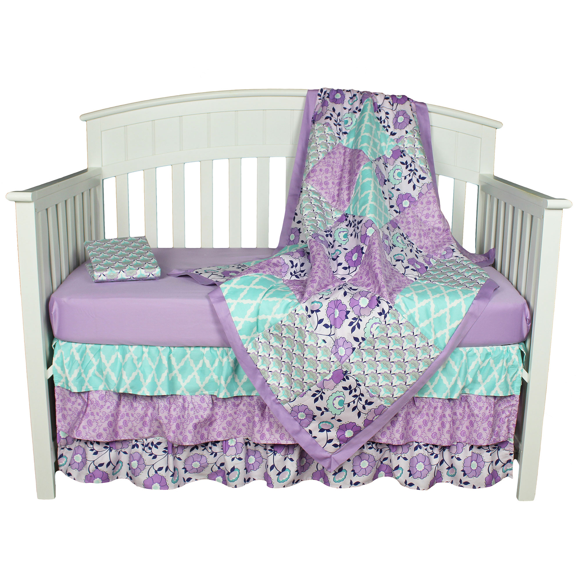 The Peanut Shell Baby Girl Crib Bedding Set   Purple Floral Design   Zoe 4  Piece Set Includes Coverlet, Dust Ruffle, And Two Fitted Sheets