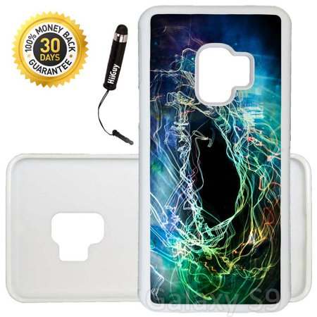 Custom Galaxy S9 Case (Colorful Swirl Nebula) Edge-to-Edge Rubber White Cover Ultra Slim | Lightweight | Includes Stylus Pen by Innosub