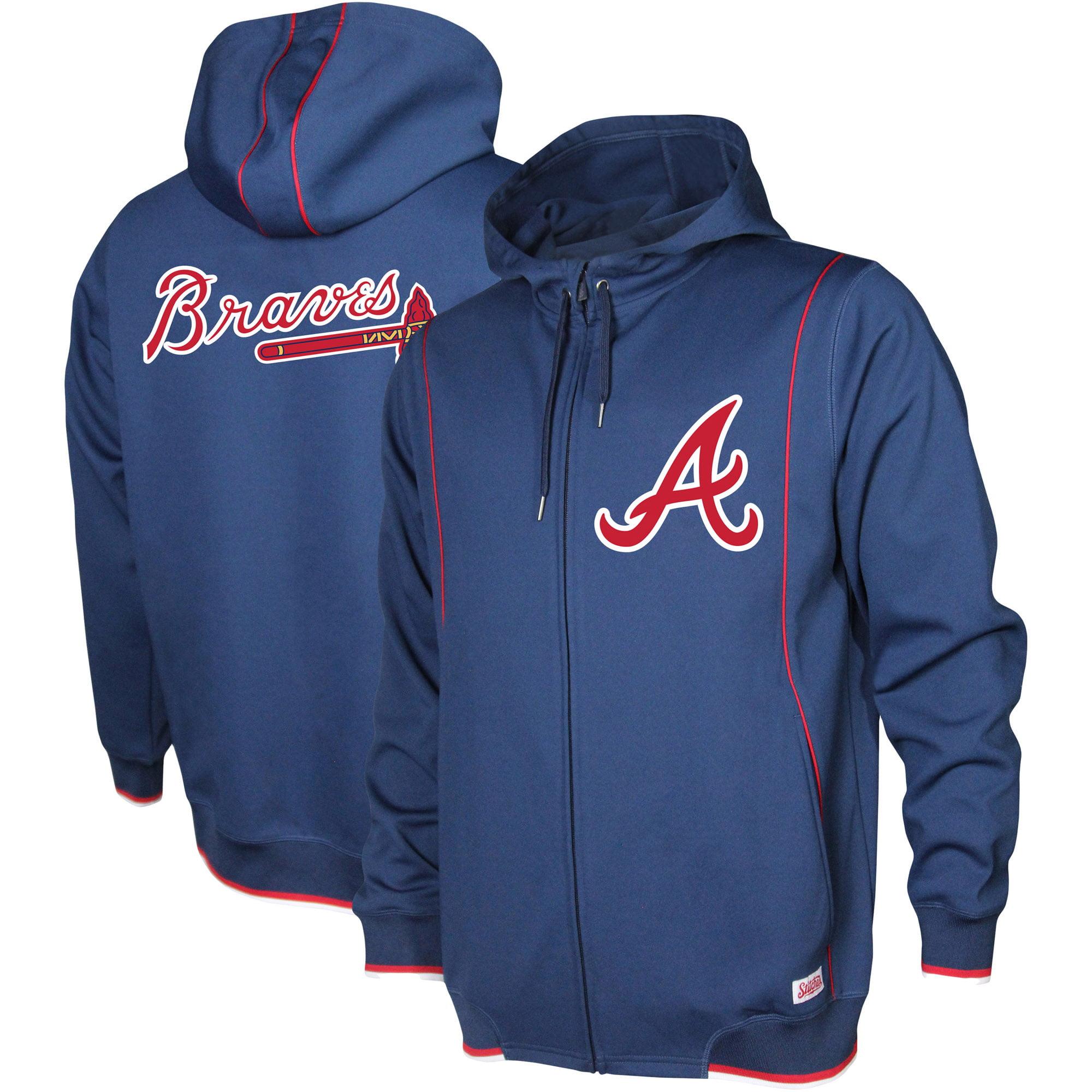 Atlanta Braves Stitches Logo Full-Zip Hoodie - Navy