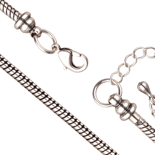 Necklace Chain For Large Hole Charms (European Style) Antique-Silver Plated 2.7mm Snake 19.7Inch With Lobster Claw Clasp And Extension Chain Sold per pkg of 1