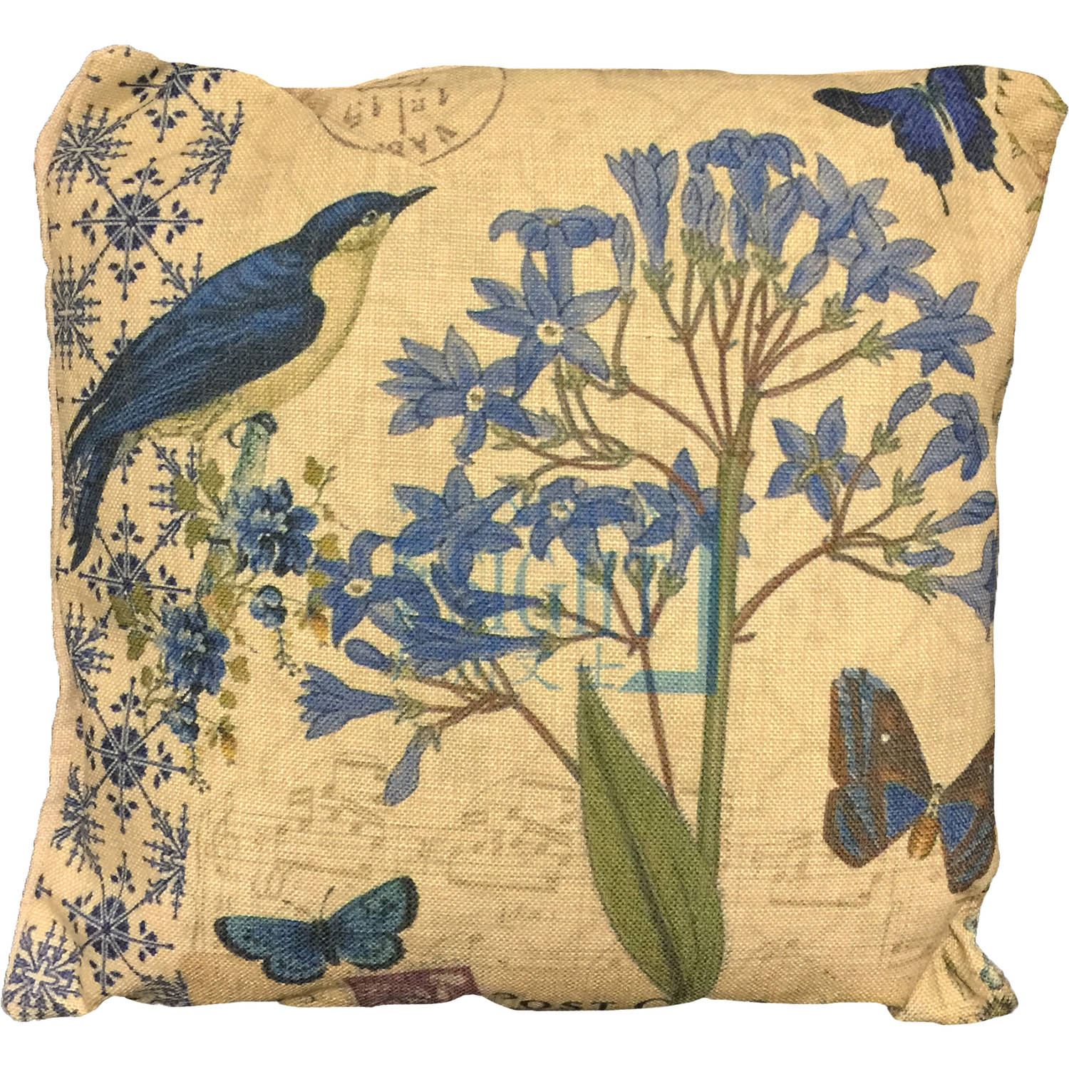 Creative Motion Cushion with Flower and Bird Design