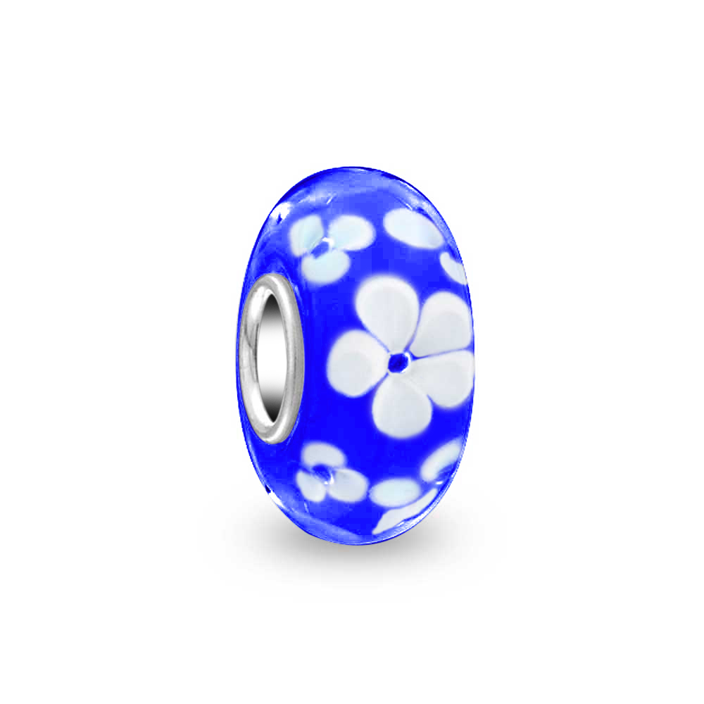 925  SILVER SINGLE CORE MURANO  BEAD//CHARM// BLUE FLOWERS ON GREEN