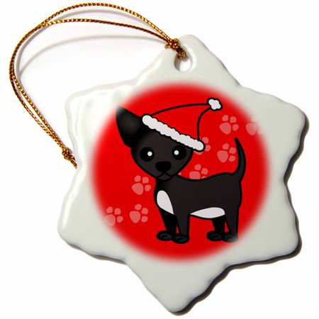 Chihuahua Santa - 3dRose Cute Black Chihuahua Red with Santa Hat, Snowflake Ornament, Porcelain, 3-inch