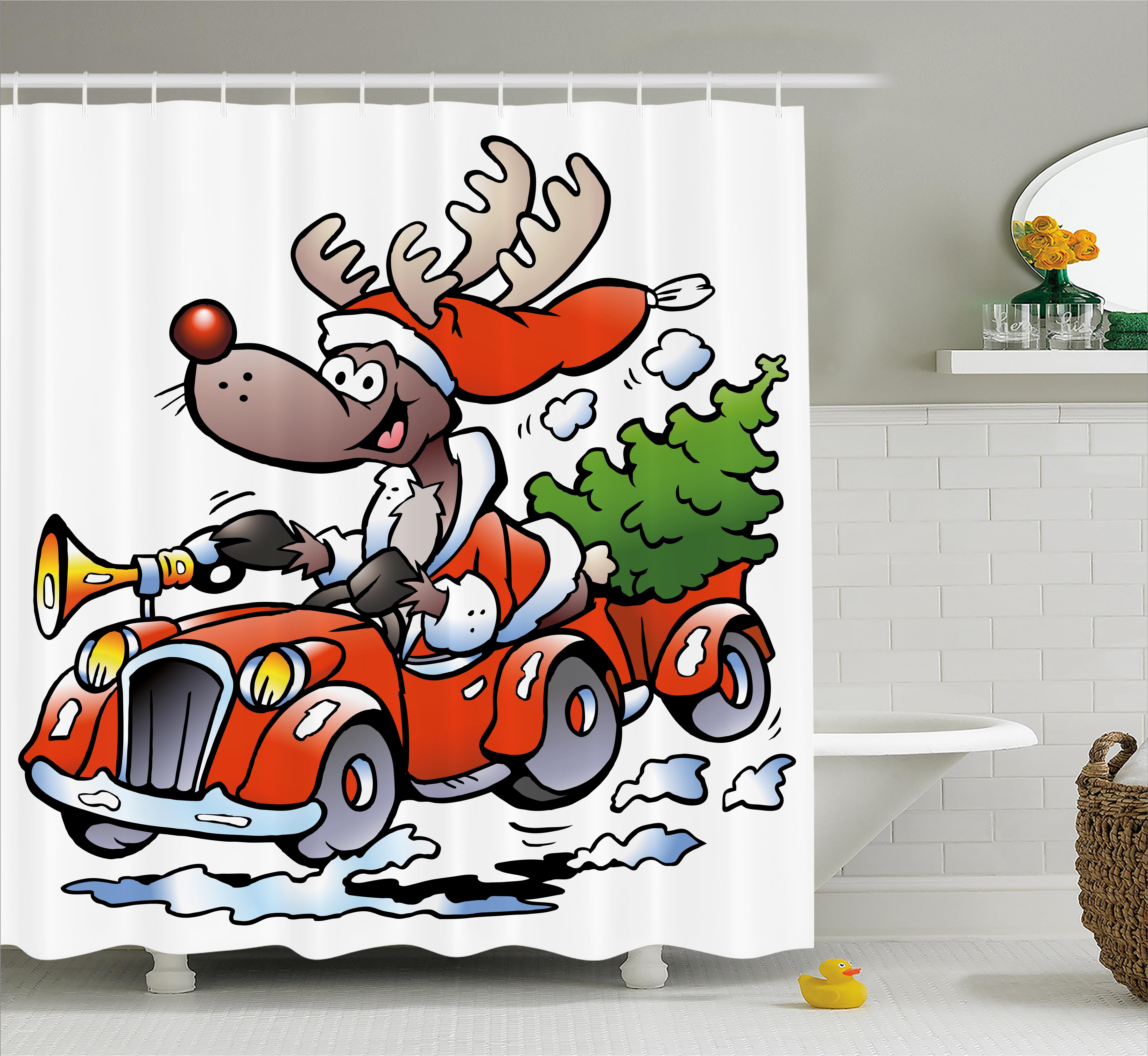 Christmas Shower Curtain Set, Ruldolph Reindeer Racing in...