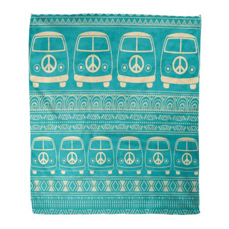 LADDKE Throw Blanket Warm Cozy Print Flannel Hippie Vintage Car Minivan Ornamental Love and Music Doodle Hippy Color Retro Comfortable Soft for Bed Sofa and Couch 50x60