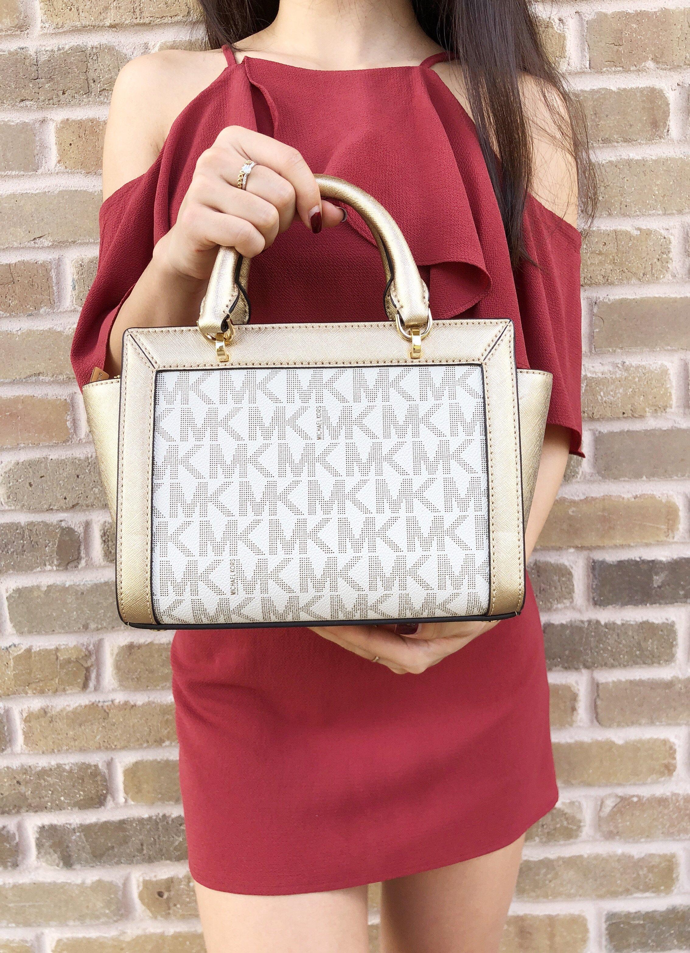 075c79e49a9c Michael Kors - NWT Michael Kors Tina Small Top Zip Satchel Handbag  Crossbody Vanilla MK Gold - Walmart.com