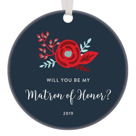 Matron of Honor Christmas Ornament 2019 Handmade Clean Floral Design Personalized Holiday Ideas for Bride Bridal Shower Future Mrs Bridesmaid Custom Married Present Ceramic Keepsake 3