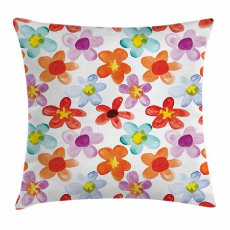 Watercolor Throw Pillow Cushion Cover, Colorful Flowers Daisy Chamomile Buds Doodle Style Petals Motley Summer Pattern, Decorative Square Accent Pillow Case, 18 X 18 Inches, Multicolor, by (Daily Doodle)