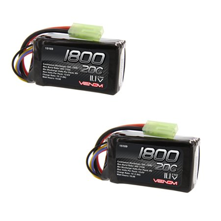 Venom 20C 3S 1800mAh 11.1V LiPO with Mini Tamiya Plug 2 Packs