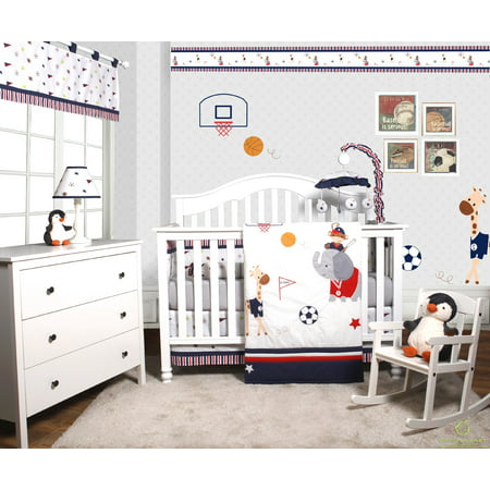 Optimababy Animal Sports Festival 6 Piece Baby Boy Nursery Crib Bedding Set